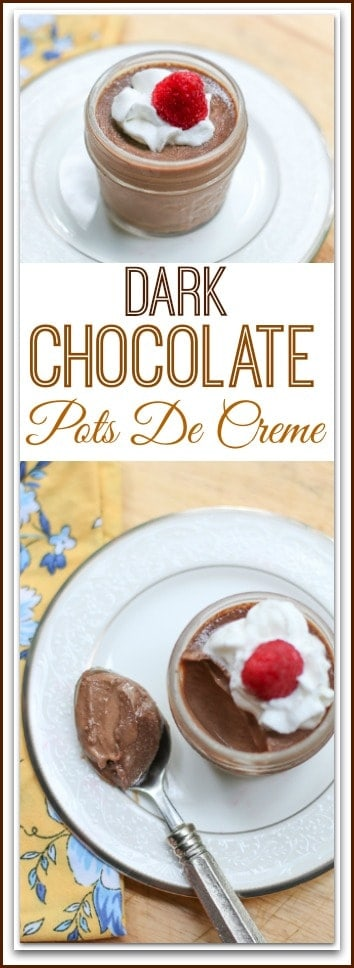 Entertaining and need a special dessert? This Dark #Chocolate #PotsDeCreme is the ultimate chocolate dessert. It is rich, creamy, and decadent. Your guests will be sure to love each and every bite!
