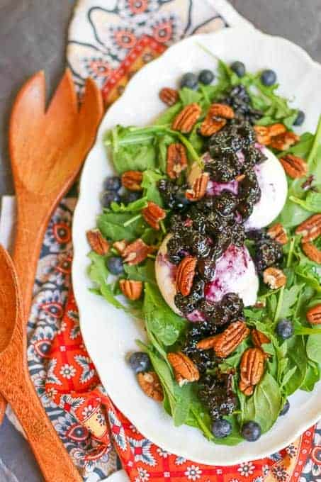burrata salad with blueberry balsamic reduction