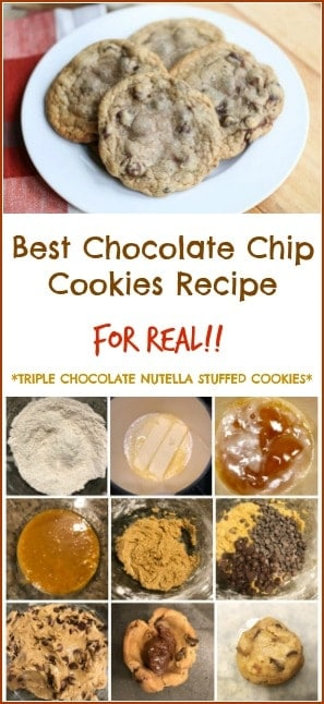 This really is the best Chocolate Chip Cookies Recipe EVER! REALLY!  These are salted, brown buttered, triple chocolate, Nutella stuffed cookies that will absolutely make your mouth drool for more after one bite. They have a crispy edge and a gooey center.