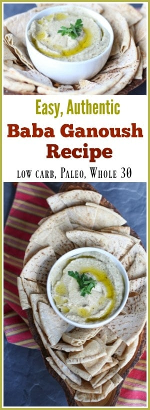 Learn how to make #babaganoush with this easy recipe.It is perfect to make for a delicious appetizer, snack, or for a healthy spread on a sandwich. All ingredients are natural, #paleo, #whole30, #lowcarb, and #glutenfree.