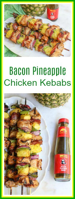 #ad Looking for an easy dinner inspiration? These bacon pineapple chicken kebabs are quick and simple marinated chicken on skewers combined with bacon, pineapple, red onion, and bell pepper.