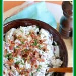 Follow these easy steps for delicious, creamy bacon ranch potato salad! It is the perfect side dish for a cookout, potluck, or family meal. #potatosalad #baconranchpotatosalad #potatoes