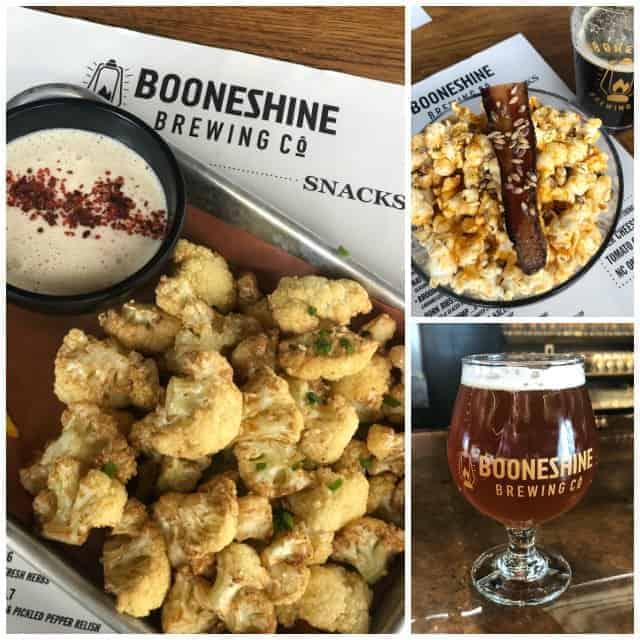 Flash fried cauliflower, popcorn, and beer at Booneshine