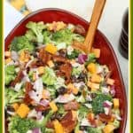 This easy classic broccoli bacon salad includes red onion, cheddar cheese, and raisins, then tossed in a creamy sweet dressing. It is a perfect crowd pleaser for potlucks and backyard barbecues. #broccolisalad #salad