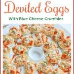 ThisBuffalo Deviled Eggs Recipe is a fun and delicious spin on traditional deviled eggs. They are made with buffalo wing sauce and garnished with crumbled blue cheese. They make the perfect party appetizer. #buffalodeviledeggs #buffalowings #deviledeggs