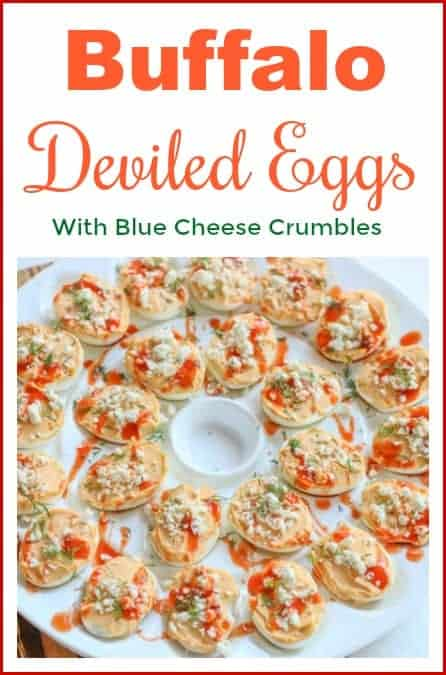 This Buffalo Deviled Eggs Recipe is a fun and delicious spin on traditional deviled eggs. They are made with buffalo wing sauce and garnished with crumbled blue cheese. They make the perfect party appetizer. #buffalodeviledeggs #buffalowings #deviledeggs