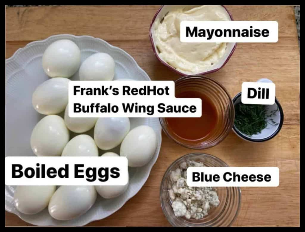 Ingredients for buffalo deviled eggs