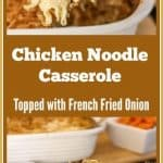 This Chicken Noodle Casserole recipe is a delicious Southern Food Classic. Topped with crispy french fried onions and loaded with cheese, it is a finger licking, go back for seconds food! #chickennoodlecasserole #aforkstale