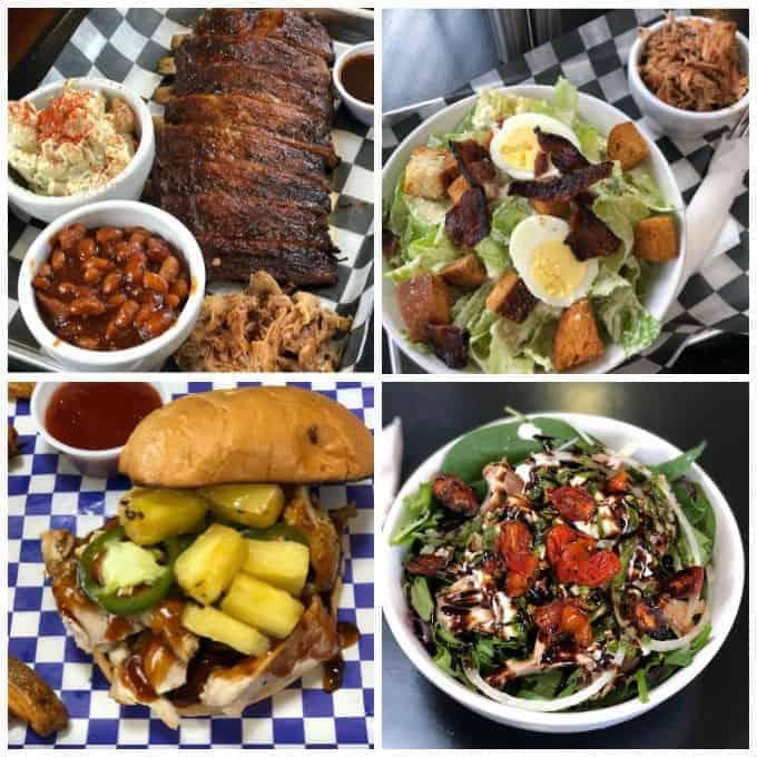 Food at Fowler's Southern Gourmet- Ribs, Baked Beans, Caeser Salad, Angry Hawaiian Sandwich