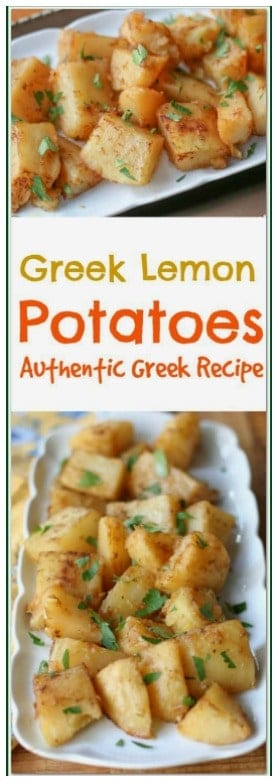 Greek Lemon Potatoes are a common side dish to many Greek dishes. These slowly roasted #potatoes are lightly crispy on the outside, and tender and soft on the inside, with a delicious lemon flavor. #Greeklemonpotatoes