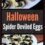 These Spider Deviled Eggs make fantastic Halloween food. This spooky Halloween appetizer is easy to make and delicious to eat. Make these for your next Halloween party! #HalloweenPartyFood #aforkstale #easyrecipe