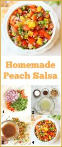 Peach salsa is a sweet and spicy salsa that is delicious on chips, fish, chicken, and pork. Make it in under 10 minutes for a healthy snack or condiment. #peachsalsa #salsa
