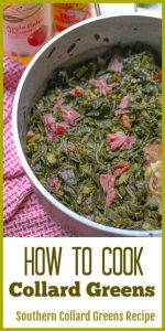 If you love Southern Soul Food, then you will love this Southern Collard Greens recipe. I take you step-by-step on how to cook collard greens just like your grandma would have made them.  They turn out soft, tender, and flavorful. #howtocookcollardgreens #southerncollardgreens