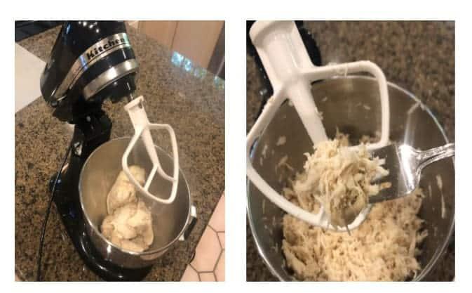 shredding chicken in a kitchen aid mixer