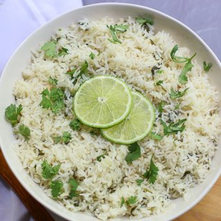 Rice Cooker Coconut Rice With Lime & Cilantro