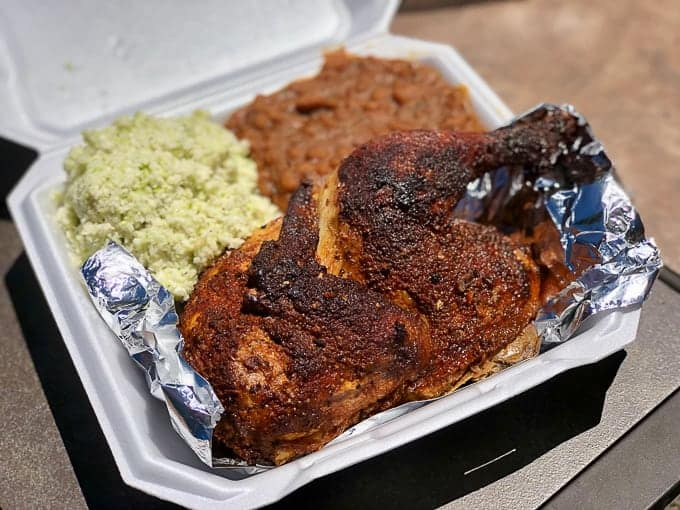 Smoked chicken at Paulie's Pig Out