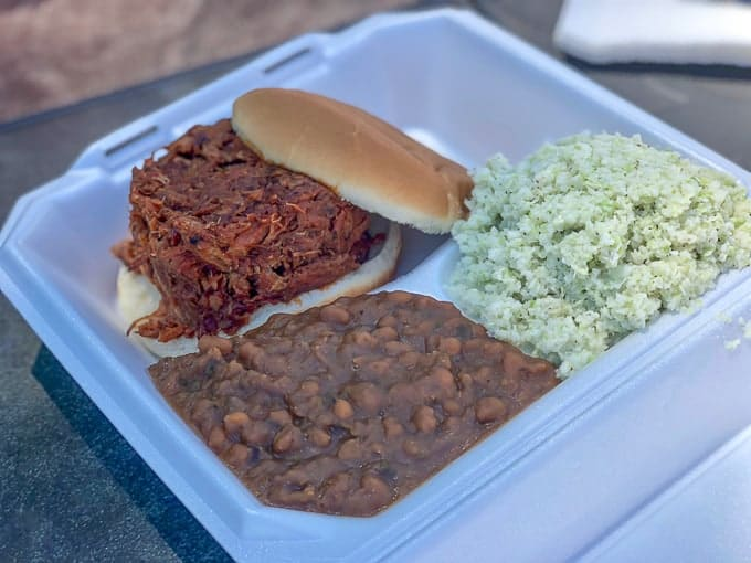 BBQ sandwich at Paulie's Pig Out