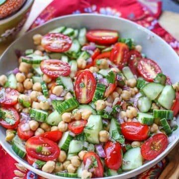 Simple Chickpea Salad-chickpea, cucumber, tomato salad