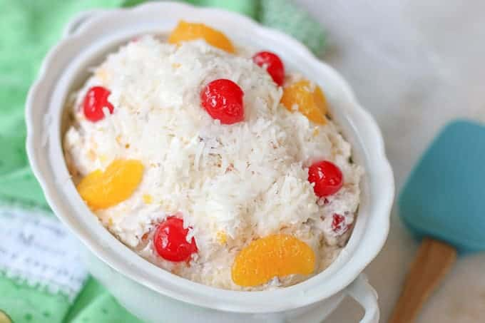 Ambrosia Salad in a a white serving bowl