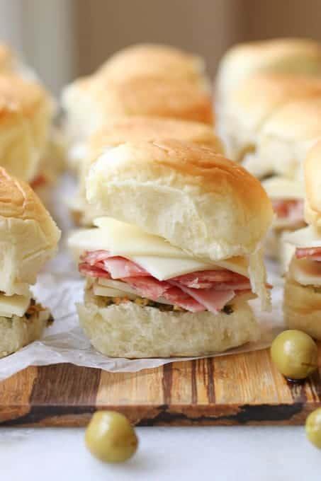 muffaletta slider sandwiches