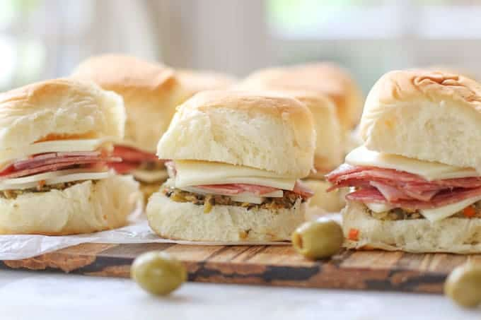 Muffuletta Sliders with homemade olive salad spread