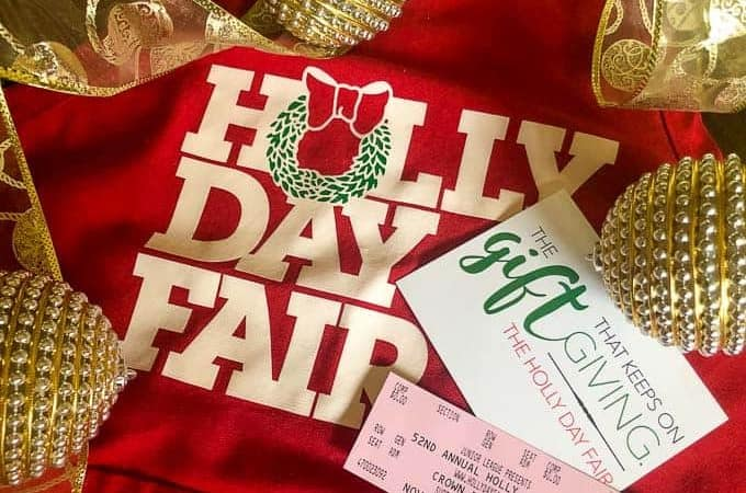 holly day fair apron, holly day fair tickets with ornaments