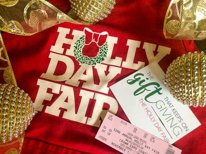 holly day fair apron, holly day fair tickets with ornaments