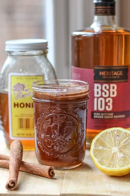 cinnamon, honey bourbon, and lemon juice for homemade cough remedy