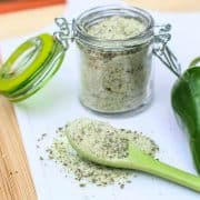jalapeno salt on a green spoon
