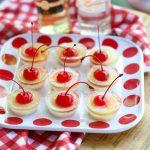 rum jello shot on red and white dish