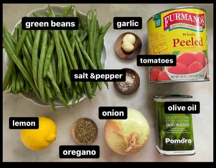 Ingredients for Greek Green Beans fasolakia