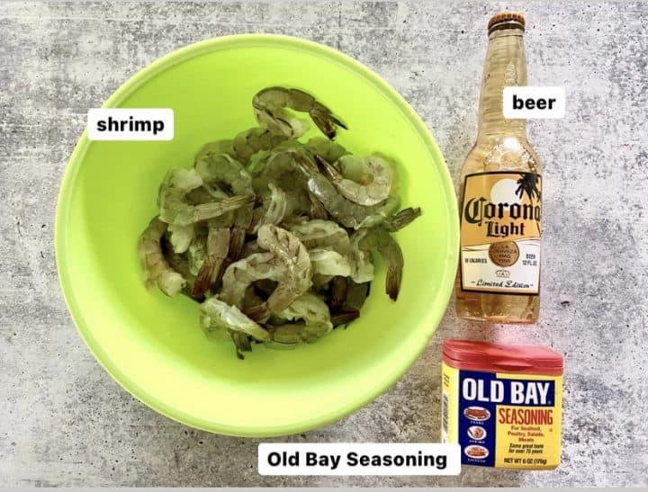 Ingredients to boil shrimp