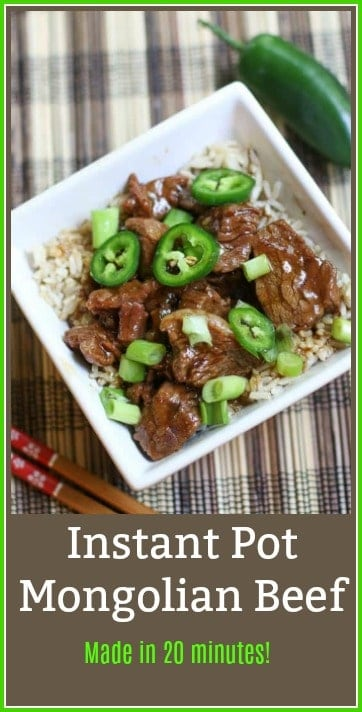 Do you love a spicy, easy, delicious, quick recipe? Then you will love this 20 minute Instant Pot Mongolian Beef recipe. Slice up the ingredients, throw them in the Instant Pot, and in 20 minutes or less, you will have a fantastic meal. #instantpotmongolianbeef