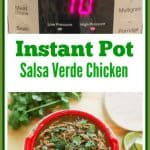 15 Minute instant pot salsa verde chicken is easy to make, full of delicious spicy flavor, and healthy! It is paleo friendly, low carb, and gluten free.