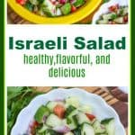 Israeli Salad is a delicious, healthy, flavorful Middle Eastern Salad. It is made with fresh tomatoes, cucumbers, onions, mint, parsley, olive oil and lemon.