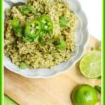 Have you had Chipotle Cilantro Lime Rice? It is delicious. This is a spicy copycat version to make in your rice maker. This Jalapeño, Cilantro, Lime Rice is incredibly fresh and full of tasty flavor made with healthy brown rice. #rice #limerice