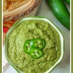 Jalapeno salsa is a flavorful spicy creamy salsa. Its creamy texture is created from roasted jalapenos, onions, and garlic that is combined with fresh cilantro, lime juice, and olive oil. This Mexican green sauce is great on chips or your favorite tacos!