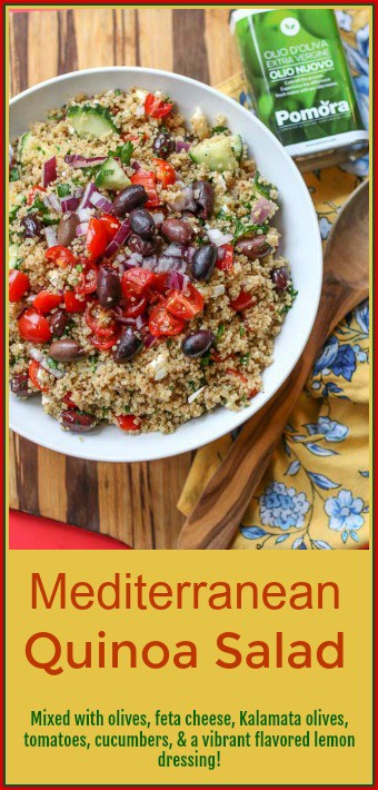 Mediterranean Quinoa Salad is mixed with olives, feta cheese,Kalamataolives, tomatoes, cucumbers, and a vibrant flavored lemon dressing. It is perfect as a delicious side dish or as a healthy entree by itself.