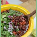 This easy Mexican black beans recipe is made with canned beans and flavored with cumin, onion, chipotle peppers, lime juice, and tomatoes with green chilies.These black beans are made in under 20 minutes. They make a healthy, flavorful side dish perfect for Taco Tuesdays! #MexicanBlackBeans #BlackBeans