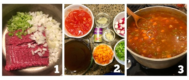 Process images on how to make low carb hamburger soup