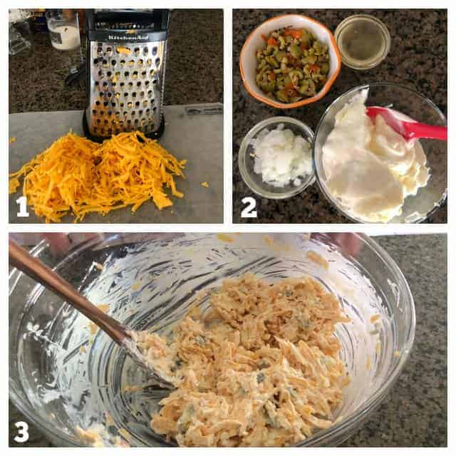 Process steps to make homemade pimento cheese with olives