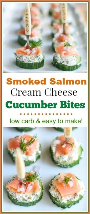 These cute little Smoked Salmon Cream Cheese Cucumber Bites make the perfect finger food for a party! They are low carb and easy to make.