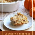 This Southern cornbread dressing recipe is moist, creamy, and full of flavor. It is the perfect dressing for Thanksgiving day, but it also makes a delicious side dish for turkey or chicken all year.