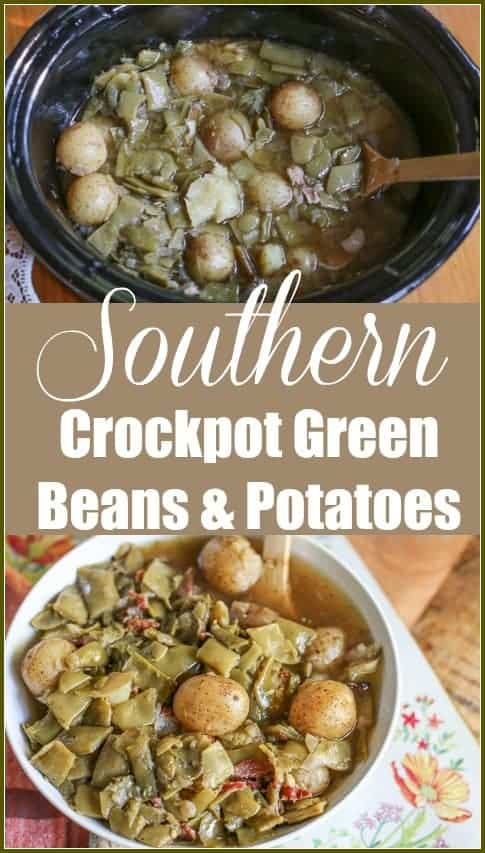 These Southern Crockpot Green Beans and Potatoes are seasoned with bacon for a delicious flavor. They are a perfect side to any meal and easy to make. #crockpotgreenbeans #slowcookergreenbeans