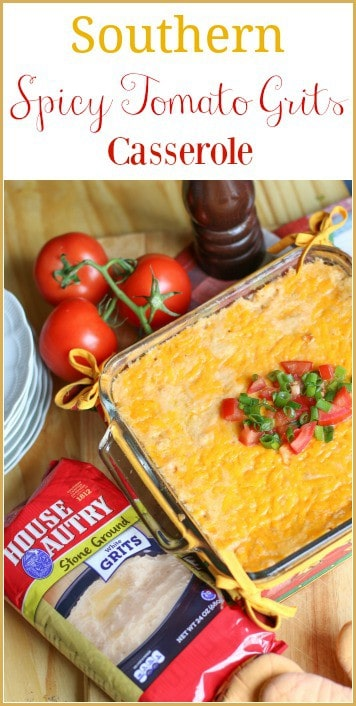#ad Tomato Grits Casserole is a delicious Southern comfort dish. This recipe is made with creamy, stone grits from @House-AutryMills mixed with spicy tomatoes and chilies. It is the perfect side dish to serve for breakfast, brunch, or dinner. After one bite, you will be coming for more! #goingHAM #HouseAutry #SouthernCrafted