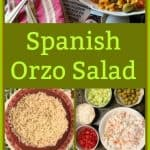 This Spanish Orzo Salad is loaded with imitation crabmeat, green olives, cucumbers, tomatoes, and a Sazon Goya citrus dressing. It is simple to make and full of flavor. #orzosalad #pastasalad