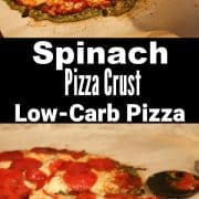 This spinach pizza crust is a low carb pizza crust recipe. Add your favorite pizza toppings and it tastes just like a real pizza. #lowcarb #lowcarbpizza #aforkstale