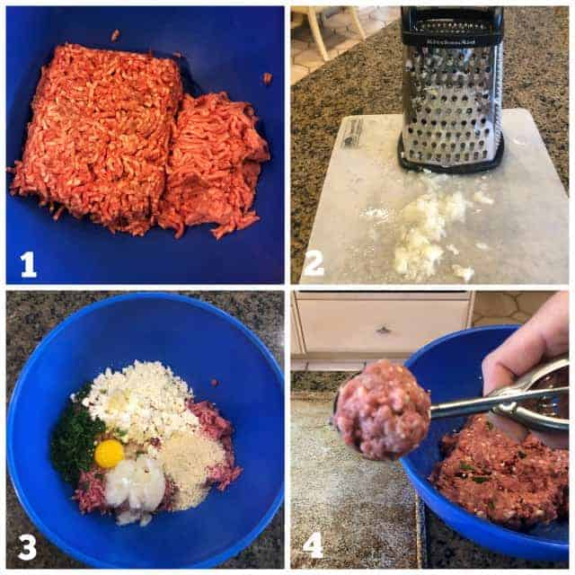 Step by Step process images on how to make homemade lamb meatballs