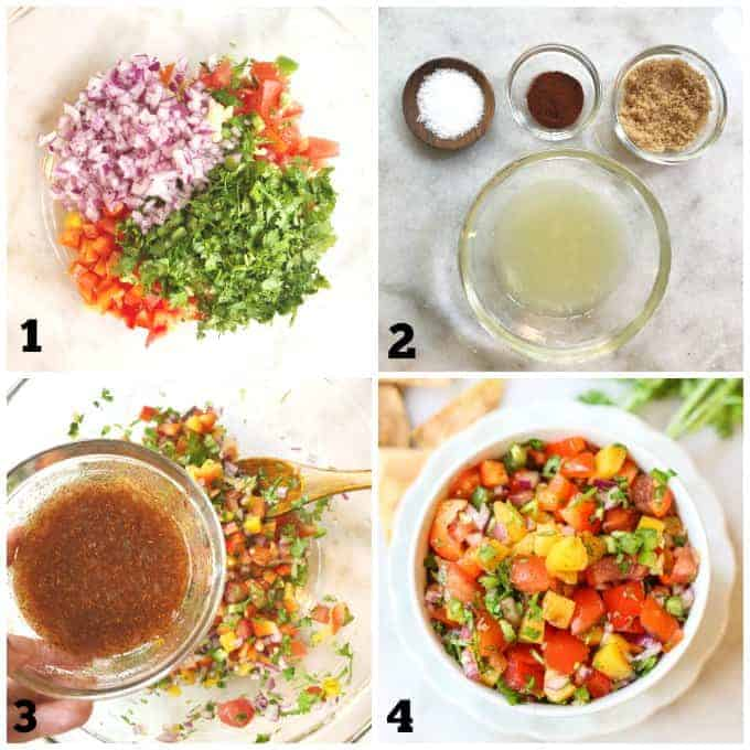 step by step process pictures to make peach salsa