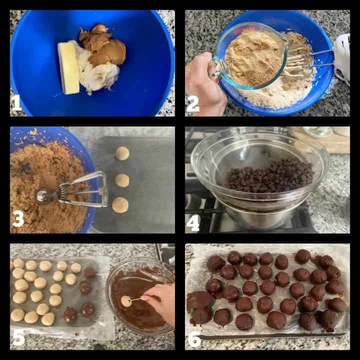 images of steps to make the peanut butter bon bons